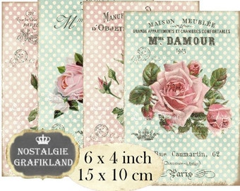 Polka Dots Roses Vintage Shabby Chic Flowers Victorian Roses 6 x 4 inch Instant Download digital collage sheet D109