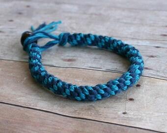 Blue Turquoise Round Hemp Bracelet Surfer Street Arm Wrist Band Custom