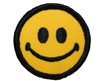 """2"""" Classic Yellow Smiley Smiling Happy Face Embroidered Iron On Badge Applique Patch"""