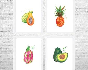 Fruits Print, Fruit Decor, Fruit Kitchen Art, Kitchen Decor, Kitchen Poster, Food Art, Kitchen Prints Set of 4 Fruits, Modern Decor