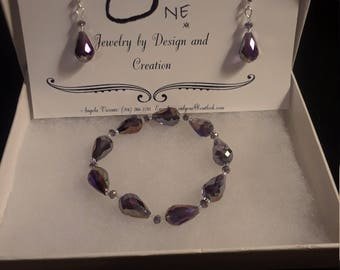 Sparkle in Purple Bracelet and Earrings Set