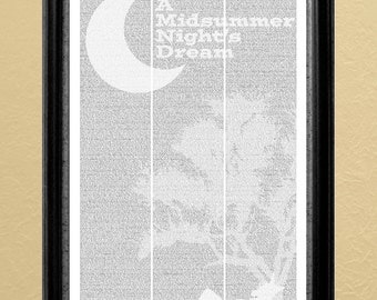A Midsummer Night's Dream, full-text poster, 11x17 in. (Instant Download)