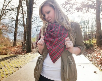 Red and Yellow Plaid Blanket Scarf