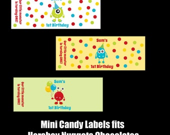 90 Personalized Little Monster Birthday Mini Candy Labels  - Little Monster Party - Any AGE