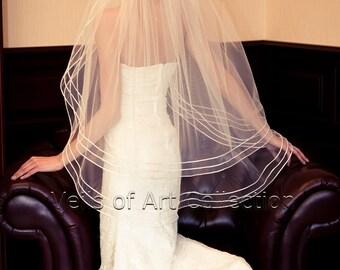 """Soft Fingertip Bridal Veil Wedding Veil 1/8"""" Satin Cord VE210 CUSTOM VEIL"""