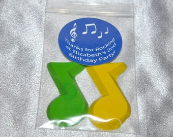 Music Note Shaped Crayons And 2 Inch Round Stickers, Total of 40 Crayons and 20 Stickers.  Boy or Girl Kids Unique Party Favors, Crayons.