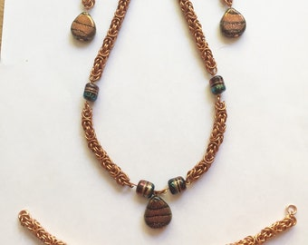 Copper byzantine and dichronic glass jewelry set