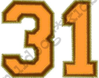 31 HALLOWEEN Machine Embroidery Applique Jersey number Holiday Shirt design 3 sizes