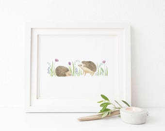 Hedgehogs Art Print / Watercolor / Nursery Decor / Gifts for Girls / Hedgehog Art / Gifts for Her / Gifts for Moms / Baby Shower Gifts