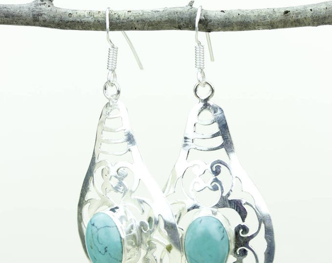 Turquoise 925 SOLID (Nickel Free) Sterling Silver Italian Made Dangle Earrings e637