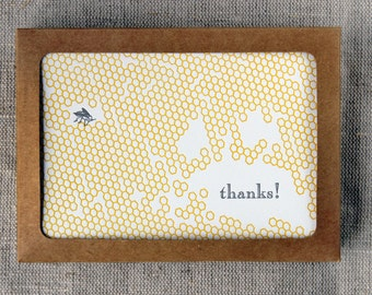 Set of 6 Letterpressed 'Thank You' Cards