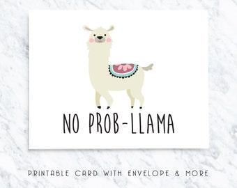 llama printable card, no probllama card, no worries card, printable blank card, animal blank card, funny printable card