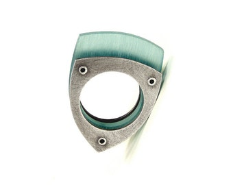 Oxidized Sterling Silver and Aqua Resin Riveted Ring - Penchant