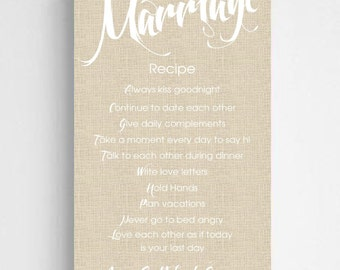 Personalized Marriage Recipe Canvas Sign - Personalized Recipe for Marriage Sign - Couples Gifts - Wedding Gifts - CA0126