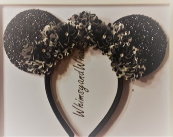 Black Sparkly Minnie Mouse Ears with leopard spotted flowers and black satin flowers