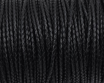 5mm BLACK Round Braided Licorice Leather, European Leather Cord, flexible, 1 yard (3 feet), Lth0007