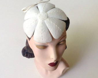 ON SALE:  Ivory Felt Flower Wedding Hat, Bridal Accessory, Vintage Inspired Hand-Beaded Wool Felt Flower Cocktail Hat