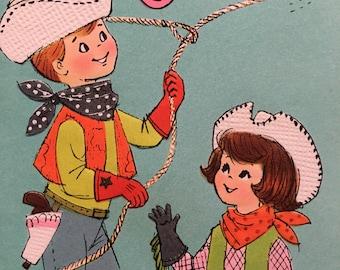 Vintage Birthday Card Aqua Pink 1950s Cowboy Cowgirl Lasso Nine NOS