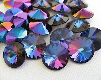 6 Bermuda Blue Swarovski Crystal Rivoli Stone 1122 39ss 8mm