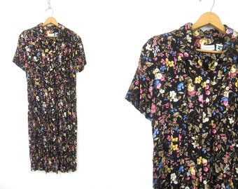 Boho 90s Floral Dress Button Front Midi Sun Dress Summer Short Sleeve Day Dress Black Frock Dress Flower Print Pattern Vintage Dress Medium