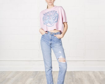 CROPPED 90S TEE T SHIRT vintage women short sleeves flowers floral cute Bonjour / Free Size / Small Medium