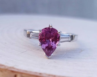 Certified Unheated Natural Pink Sapphire Diamond and Platinum Ring Pear Shaped Pink sapphire engagement ring