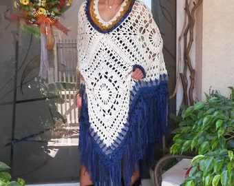 Crochet White Poncho with Blue Fringe and a matching HAT/White Poncho-Blue Fringe/ Country style Poncho/Hand crochet Poncho/Shawl/Cape