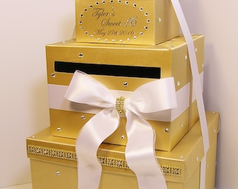 Quinceañera / Sweet 16 / Birthday /Wedding Card Box Gold  and Wite Gift Card Box Money Box  Holder--Customize in your color