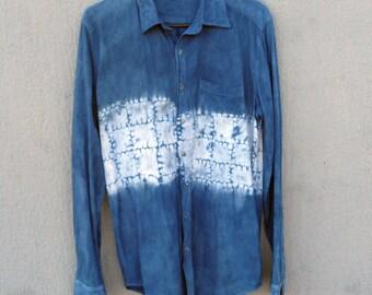American Apparel Indigo Dyed Shibori Shirt