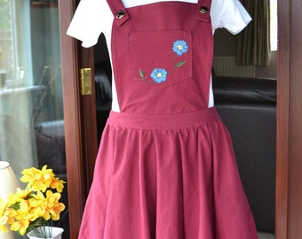 Burgundy Pinafore Dress- Handmade with Hand Embroidered Flowers