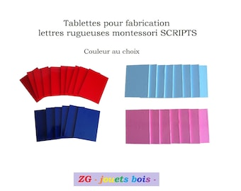 Tablets for making letters rough Montessori SCRIPT, upper or lower case, wood and vinyl color choice, handmade product