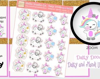 Unicorn planner stickers Original doodle kawaii stickers