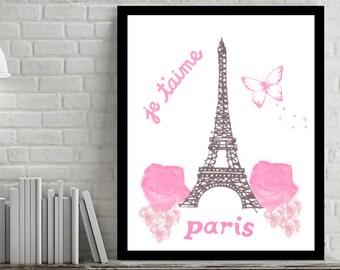 Paris Wall Art, Eiffel Tower Decor, Pink Wall Art, Pink Eiffel Tower, Paris Wall Decor, Pink Paris Wall, Paris Print, Eiffel Tower Prints