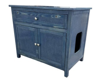 Odor Free Large Or Double Cat Litter Box Cabinet / Bathroom W/ External  Drawer. Smooth Panels. Made In USA. Wood, No MDF
