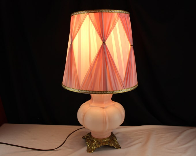 Vintage Puffy Pink Glass Table Lamp with Pink Silk Shade-Accent-Bedroom-Lighting Home Decor