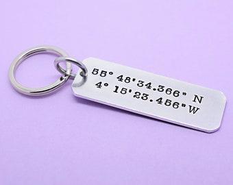 Personalised Coordinates Keyring Keychain, Latitude Longitude Keychain,Stamped Coordinates Keyring, Custom Coordinates Keyring Keychain