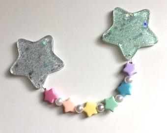 Fairy Kei Shimmer Stars Rainbow Dangle Hair Clip (light blue and mint)