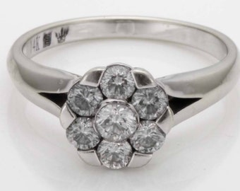 Stunning Vintage Estate .61ct Diamond 14K White Gold Floral Statement Ring Size 6.75  comes with COA and Gift Box Flower R168