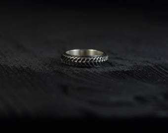 Silver biomechanical band ring I. Haunted place collection