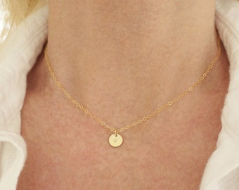 Tiny Initial Necklace + Disc Necklace + Monogram Necklace + Dainty Necklace + Personalized + 2 Initial Necklace +M3