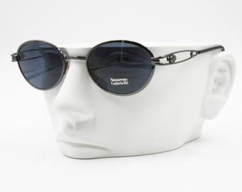 Nazareno Gabrielli vintage sunglasses oval blue lenses, Gunmetal frame, New Old Stock