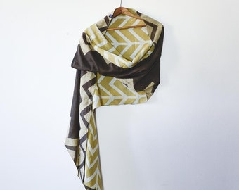 SALE- Infinity scarf, circle scarf, hand printed, Gift for her, natural dye, Cotton Silk scarf, women accessories, SAMPLE, chevron - LEHAR