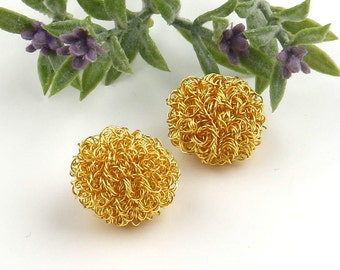 Gold, Wire Wrapped Ball Beads, Wire Wrapped Beads, 2 pieces // BD-062