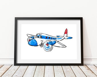 Airplane wall art Funny airplane Kids prints Airplane decor Cheerful airplane Aircraft print Airplane cartoon Airplane watercolor