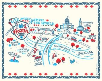 City of Austin Illustrated Map- 8x10 Art Print
