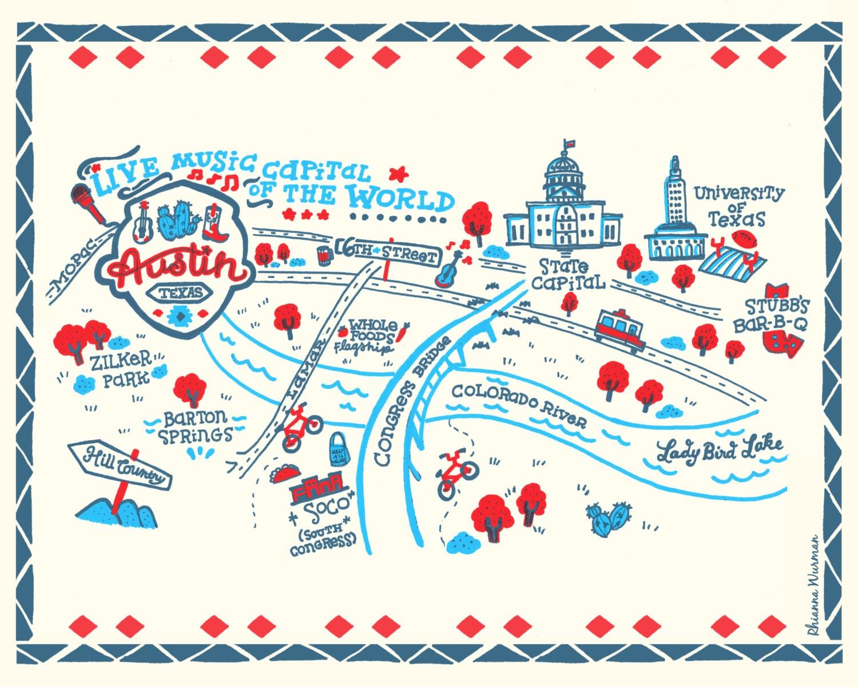of Austin Illustrated Map 8x10 Art Print