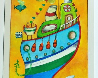 """Oil Canvas Painting - """"A Little Boat"""""""