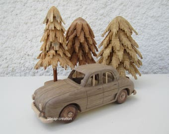 Walnut wood of a Renault Dauphine car 1/24 scale.
