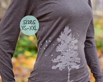 tree hoodie, tree and birds, tree and birds hoodie, graphic tee, yoga clothes, yoga hoodie, bird shirt, bird hoodie, graphic tees for women