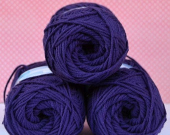 Kacenka - soft cotton/acrylic yarn for crochet and knitting, Purple/ plumb color, No. 4494, 1 ball/50 g, Producer NCT